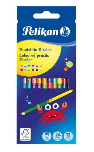 Pelikan Buntstifte Bicolor Holz BRB12LN 24F 12er Faltschac