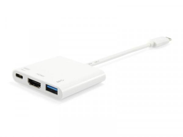 Equip USB-C St -> HDMI-/USB-A-Bu PD-Adapter 0.15cm weiß 4K30
