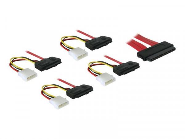 SAS Kabel Delock SAS 32Pin -> 4x SAS 29Pin +4Pin Molex 0.50m