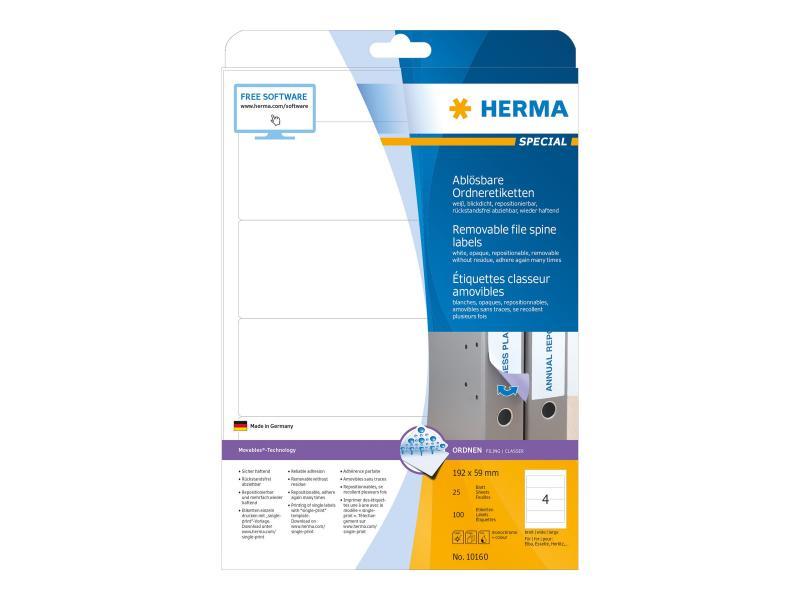 Herma 10160 Ordneretiketten A4 weiß 192x59 mm ablösb. 100 St.