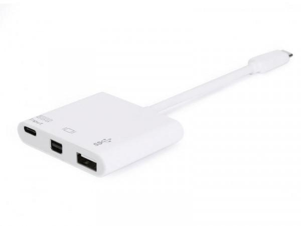 Equip USB-C St -> miniDP-/USB-A-Bu PD-Adapter 0.15cm weiß