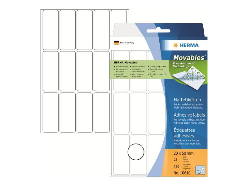 Vielzwecketiketten weiß Ø 32 mm rund Papier matt 480 St.
