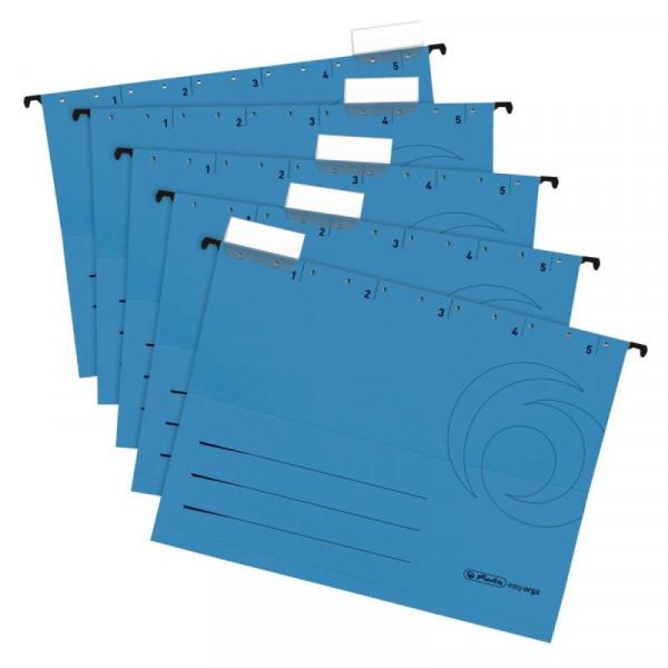 Herlitz Hängemappe A4 Karton blau +Beschrift. 5er Pack