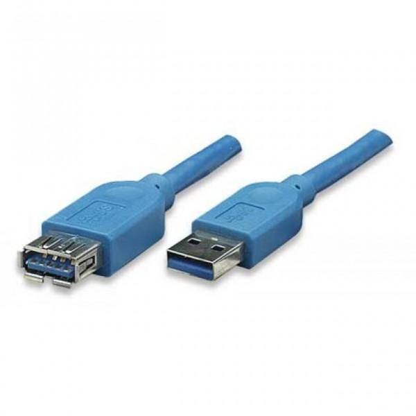 Techly USB3.0 Verlängerungskabel Stecker/Buchse TypA 3m blau