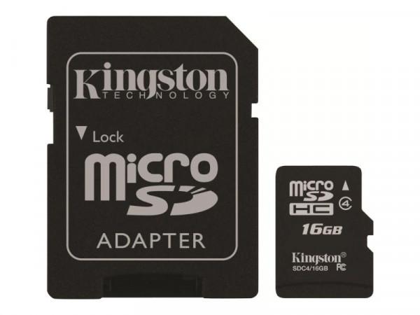SD MicroSD Card 16GB Kingston SDHC (Class 4) m.