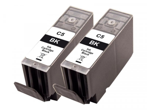 Peach TwinPack C5 - 2er-Pack - 26 ml - Schwarz - Tintenpatrone (Alternative zu: Canon PGI 5Bk)