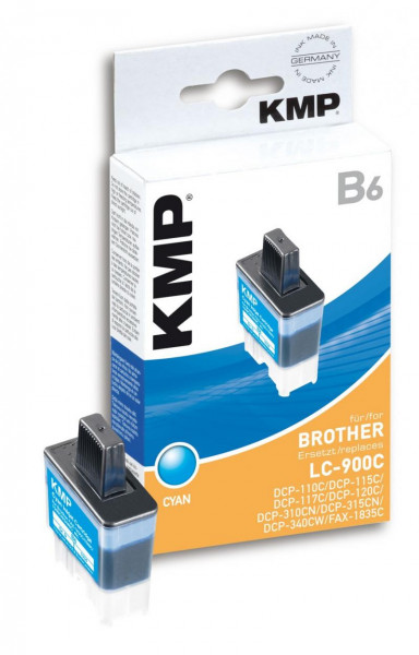 KMP Cyan - Tintenpatrone (Alternative zu: Brother LC41C, Brother LC900C)