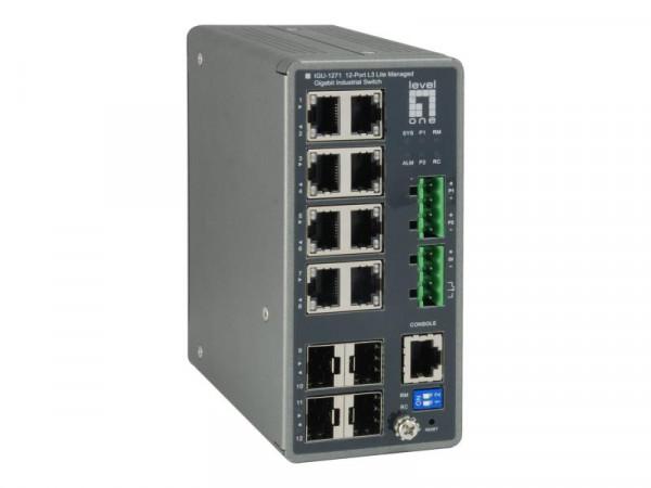 LevelOne Switch 8x GE IGU-1271 4xGSFP 8xPoE