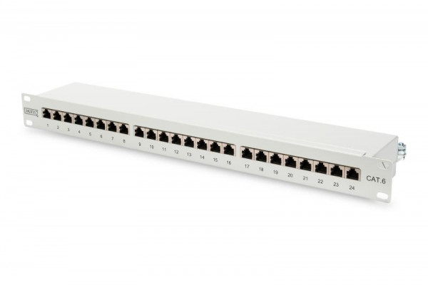 DIGITUS Patchpanel 1HE 24-Port Cat6 geschirmt grau