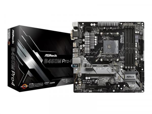 Mainboard ASRock B450M Pro4 AM4 M-ATX D-Sub/HDMI/DVI