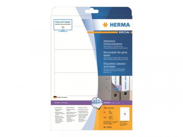 HERMA Special - Papier - matt - selbstklebend, entfernbarer Klebstoff - weiß - 192 x 61 mm 100 Etike