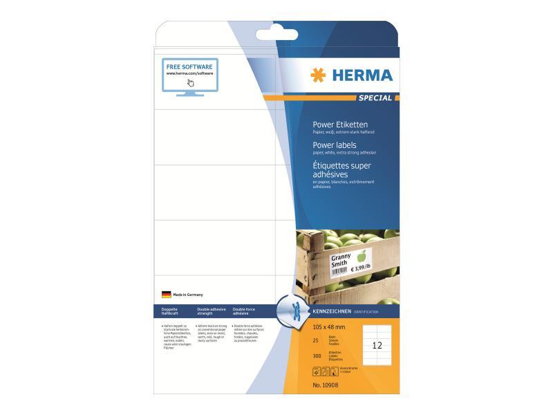 HERMA 10908 Power Etiketten  105x48 mm A4 300 St.