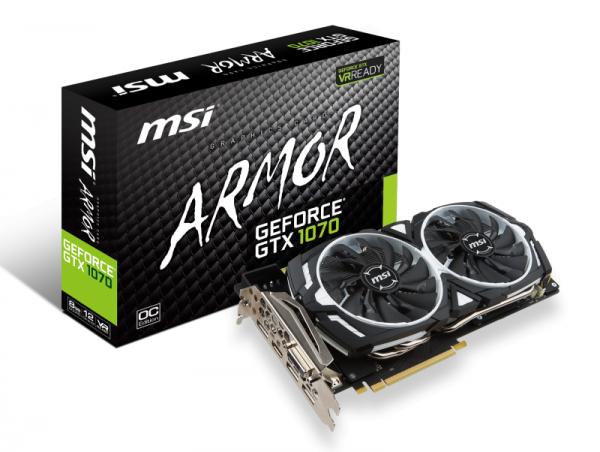PCIe MSI GEFORCE GTX 1070 ARMOR 8G OC 8GB