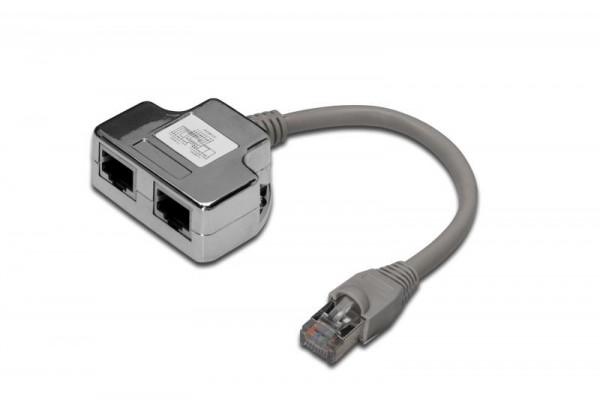 DIGITUS Patchkabel Adapter Cat5e 2x RJ45 -> 1x RJ45 0.19m